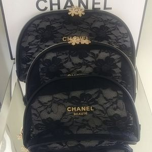 New Chanel Lace VIP Makeup Bag 3Pc Set